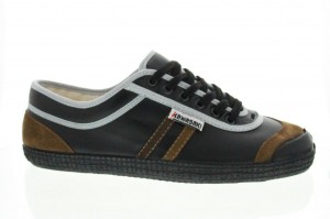 chaussures kawasaki RETRO LEATHER BLACK BROWN STRIPES01