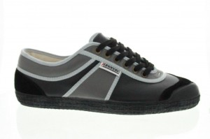 chaussures kawasaki cuir HS LEATHER BLACK GREY BLK SUEDE01